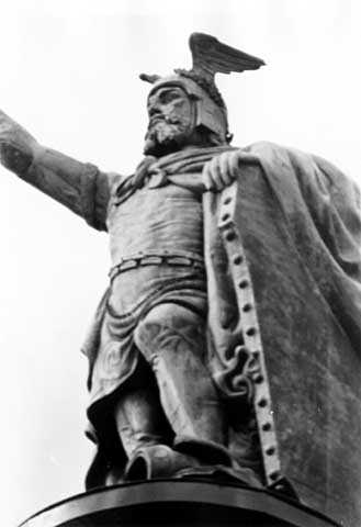 Black and white photograph of the Hermann the German Monument, New Ulm, ca. 1973.