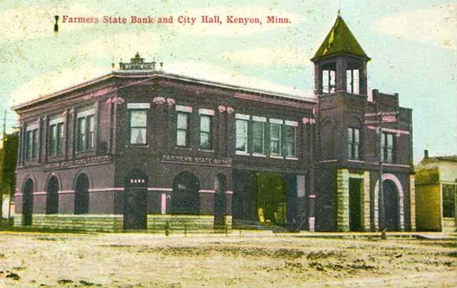 Color image of Kenyon's Farmers State Bank and City Hall, c.1910.