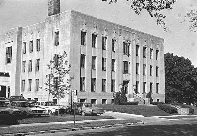 Black and white photograph of the Goodhue County Courthouse, 1972.