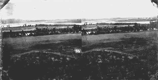 Black-and-white photonegative of the site where the Dakota and Ojibwe fought the Battle of Shakopee in 1858.