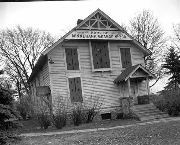 Black and white photograph of Grange Hall (Minnehaha Grange Number 398) in Edina, 1948.