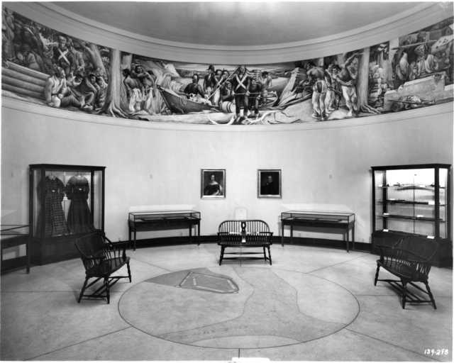 Black and white photograph of the interior of the Round Tower Museum, 1941.