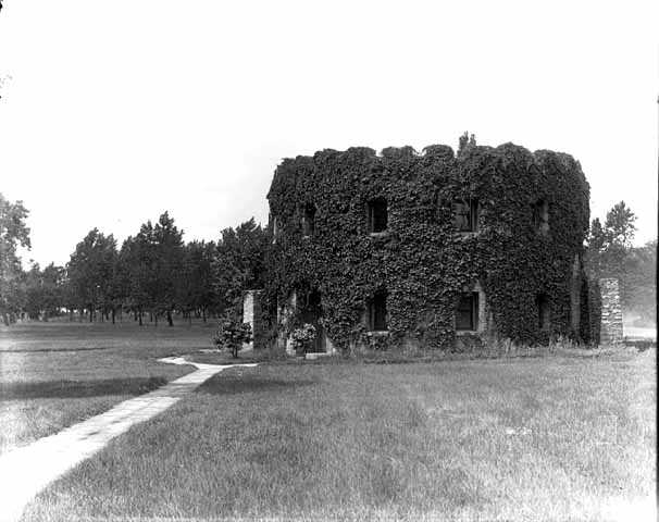 Black and white photograph of the Round Tower covered in vegetation,1915. Photograph by C. J. Hibbard.