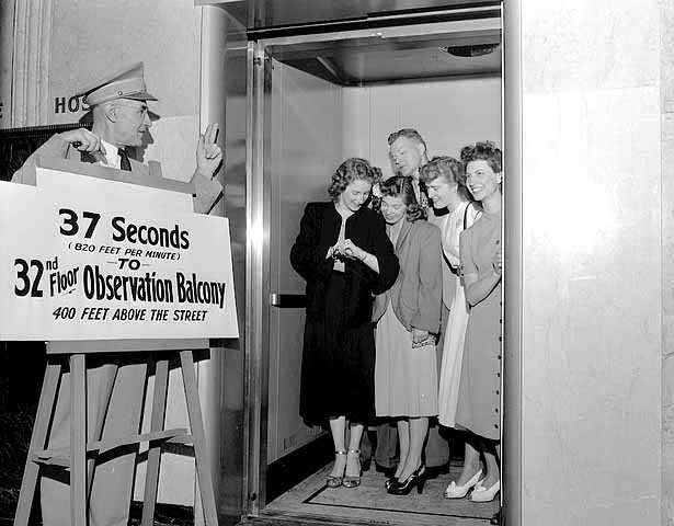 Black and white photograph of the elevator to Foshay Tower observation balcony, Minneapolis, 1948.
