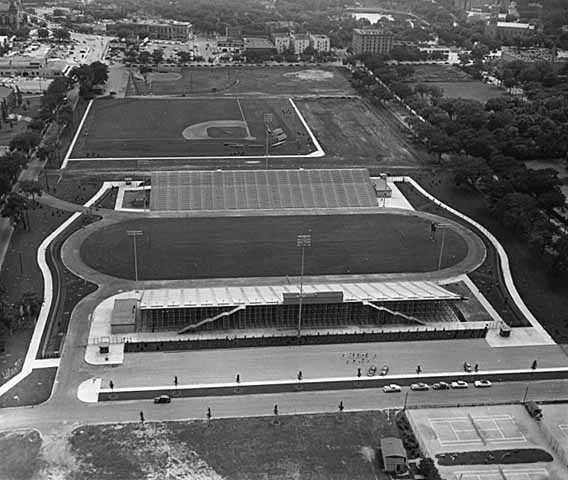 Black and white photograph of Parade Stadium, ready for its first full season of football, 1952.
