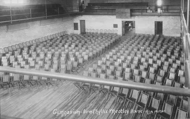 Black and white photograph of the gymnasium, at the Phyllis Wheatley House, ca. 1925.