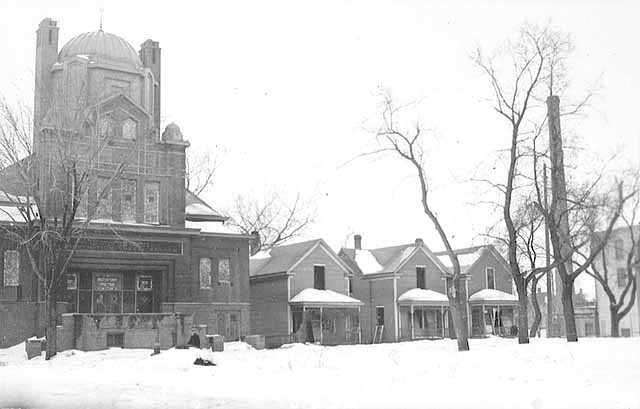 Black and white photograph of Sharei Zedeck Synagogue, razed for Sumner Field Project, Minneapolis, 1936.