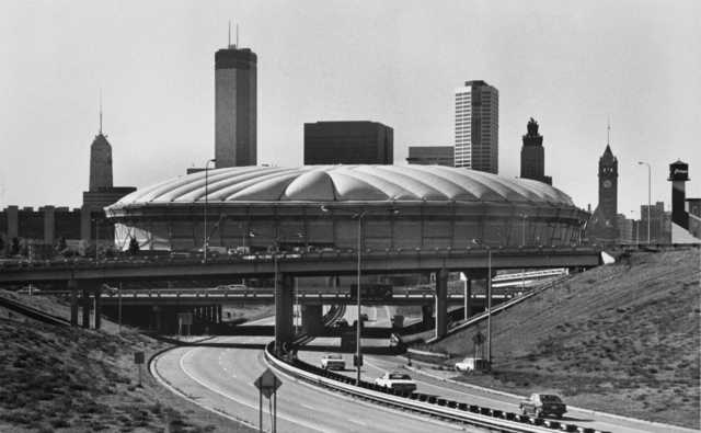 Black and white photograph of the Hubert H. Humphrey Metrodome, 501 Chicago Avenue, Minneapolis, 1982.