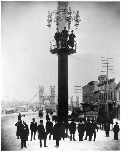 Lighting tower at Bridge Square, Minneapolis
