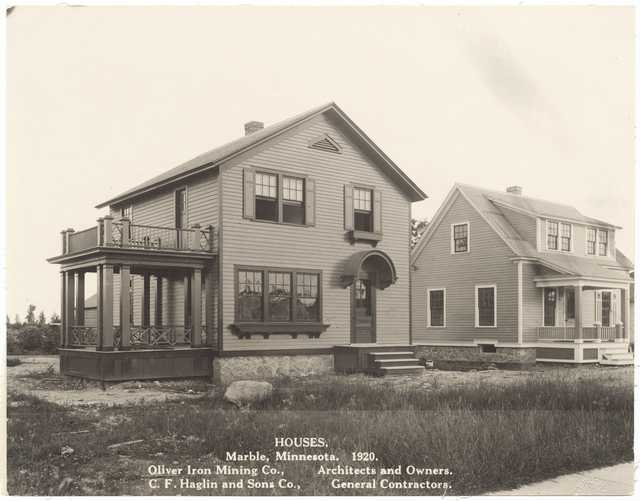 Oliver-built homes in Marble, Minnesota, 1920. The company designed and built homes in in the Canisteo District for employees to live in as they populated towns throughout the western Mesabi Range.