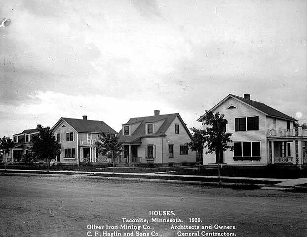 Oliver-built homes in Taconite, 1920. Similar to those built in Marble, Oliver built homes in nearby Taconite to accommodate for the growing Canisteo District population and workforce.
