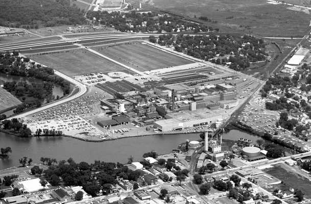Black and white aerial photograph of the Hormel Packing Company and surrounding area in Austin, Minnesota, 1972.