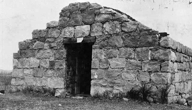 Black and white photograph of the powder house ruins at Fort Ripley, 1926.