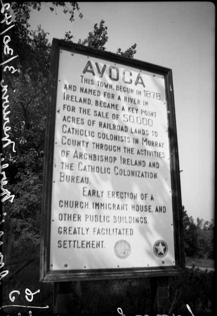 Black and white photograph of the Avoca marker in Murray County. Part of the Coteau des Prairies, Murray County. Photograph ca. 1942.