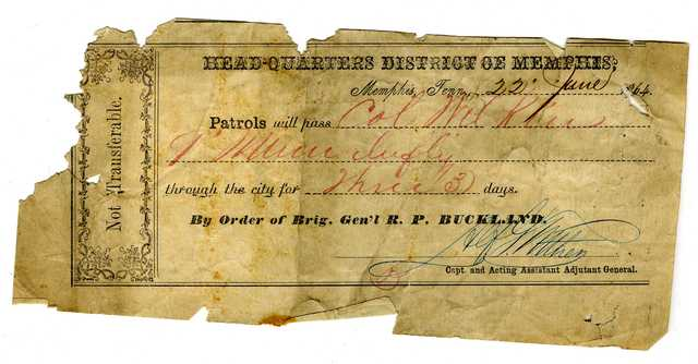 Handwritten paper pass for Colonel Alexander Wilkin, 1864.