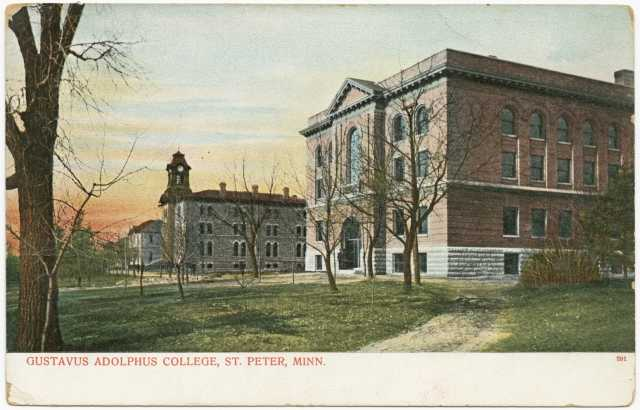 Drawing ofGustavus Adolphus College buildings (Old Main and Auditorium), St. Peter, c. 1908.