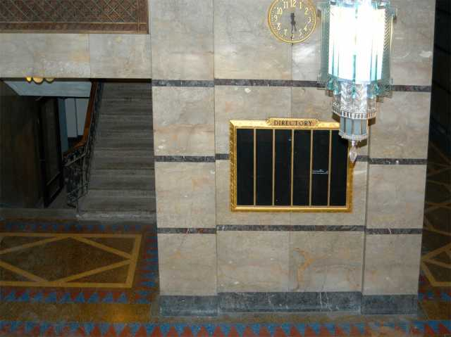 Color image of terrazzo flooring and marble walls of the Minnesota Building, 2009.