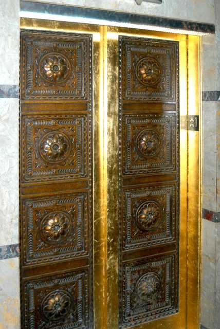 Color image of elevator doors of the Minnesota Building, 2009.