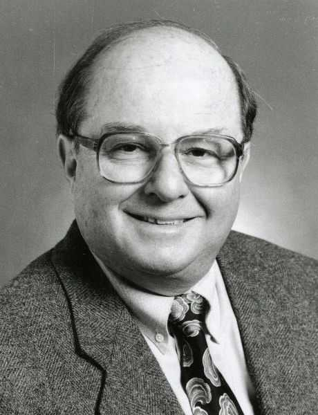 Black and white photograph of Allan Spear, 1997. Photographed by Minnesota Senate photographer.