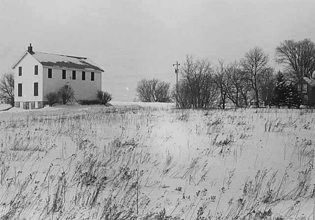 Black and white photograph of a Grange Hall in Pleasant Grove, 1873.