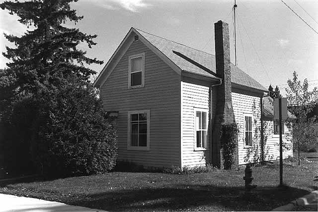 A fire relief house built on Court Avenue in Sandstone for victims of the Hinckley fire. after September 1, 1894. Photographed in October of 1979.