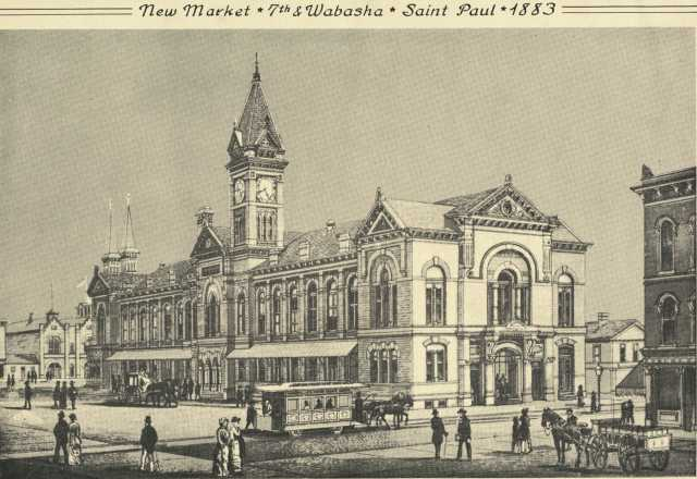 Black and white photograph of New Market House, Seventh and Wabasha, St. Paul, 1883.