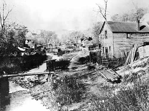 Black and white photograph of Swede Hollow looking north, c.1910.