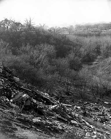 Black and white photograph of Swede Hollow, c.1969.