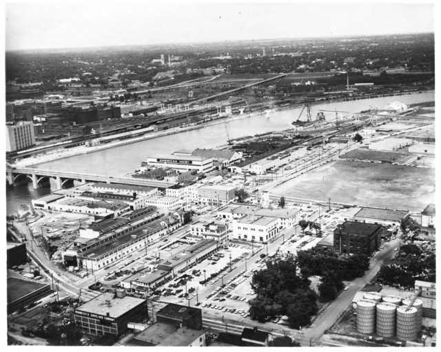 Black and white photograph of Amhoist Complex and Robert Street Bridge, 1969.