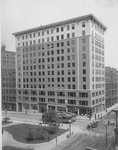 Black and white photograph of the Commerce Building, c.1915.