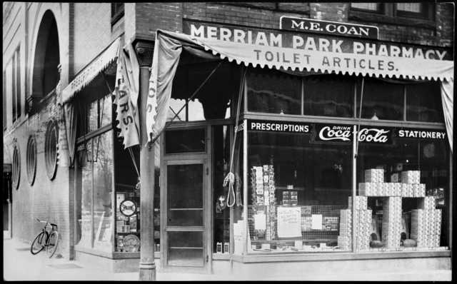 Merriam Park Pharmacy, St. Anthony and Prior Avenues, St. Paul, ca. 1910. This building was lost to construction of Interstate 94.