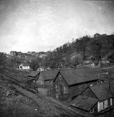Black and white photograph of Swede Hollow, c.1898.