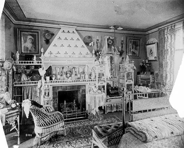 Black and white photograph of a bedroom during the occupancy of George Finch, Griggs House, 432 Summit Avenue, St. Paul, c.1884.