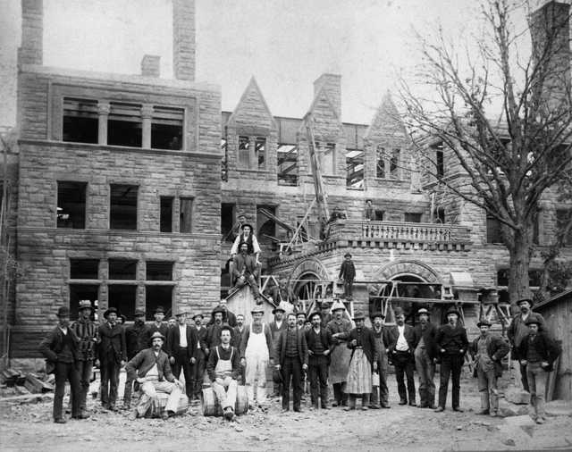 Black and white photograph of a construction crew at the James J. Hill House in St. Paul, Minnesota in 1891.