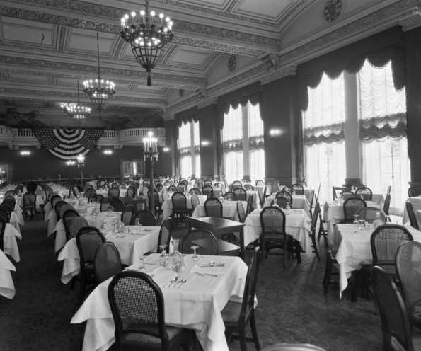 Black and white photograph of the dining room in the St. Paul Athletic Club, c.1925. Photograph by Charles P. Gibson.