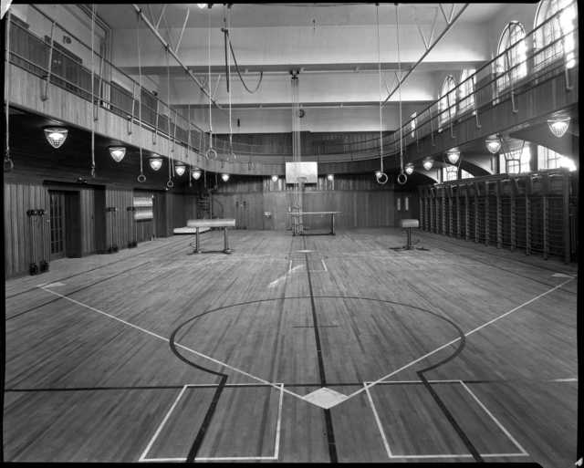 Black and white photograph of the gymnasium in the St. Paul Athletic Club, c.1925. Photograph by Charles P. Gibson.