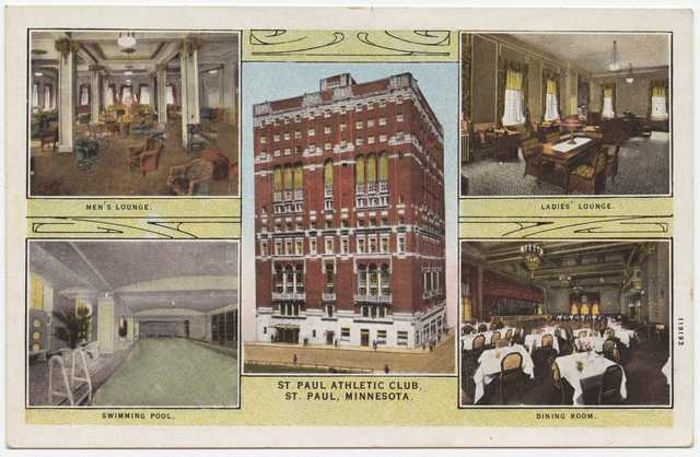 Color image of a color-tinted postcard with pictures of the St. Paul Athletic Club, c.1920.