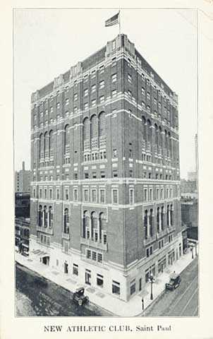 Black-and-white postcard with a picture of the St. Paul Athletic Club, c.1917.