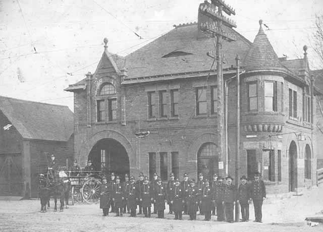 Black and white photograph of the Rondo Street police station at the intersection of Rondo Street and Western Avenue, ca. 1900.