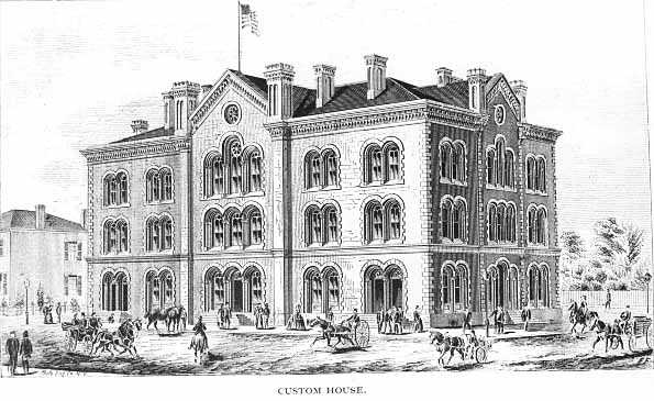 Sketch of Old Customs House, Minneapolis, 1876.