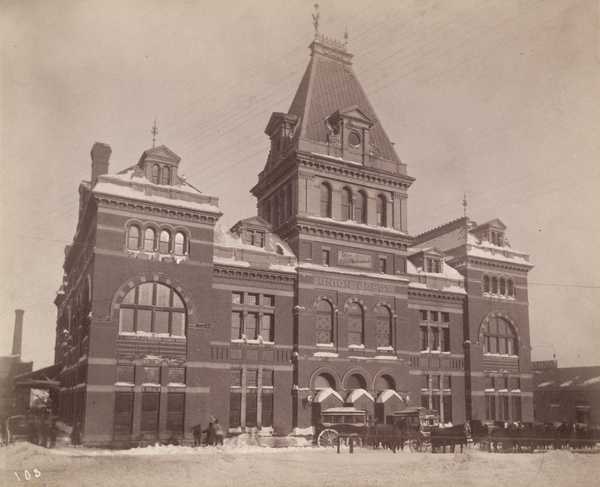 Black and white photograph of the first St. Paul Union Depot (destroyed by fire 1915),1887.