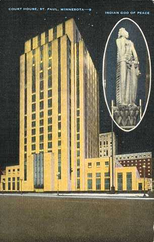 Color postcard view of the third Ramsey County courthouse, also used as St. Paul's City Hall, c.1935.