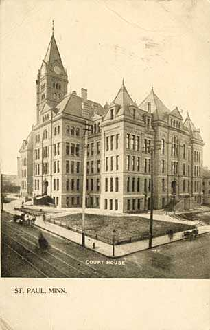 Black and white photograph of the second Ramsey County courthouse, c.1908. This view is looking northeast. The Victory parking ramp later occupied this space.