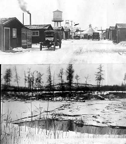 Black and white photographs of Main Street at Milford location and lake which flooded mine, 1924.