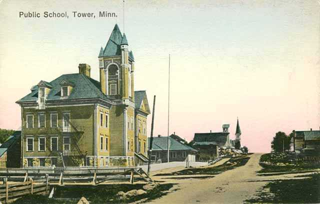 Black and white photograph of a public school in Tower, ca. 1910.