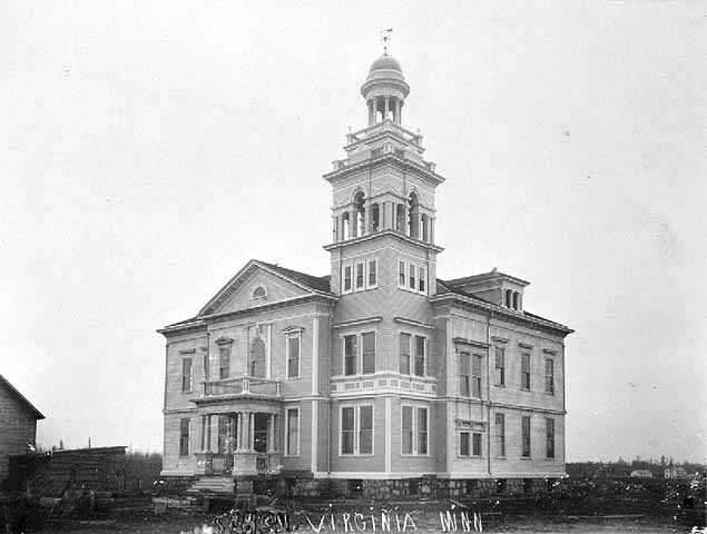 Black and white photograph of a public school in Virginia, Minnesota, 1895.