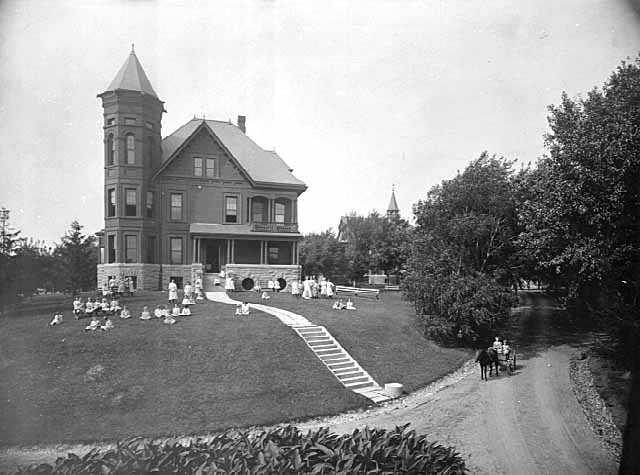 Black and white photograph of Girl's Cottage at the State School, c.1905.