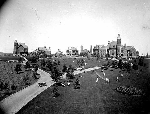 Black and white photograph of the State School in its early years, c.1890.