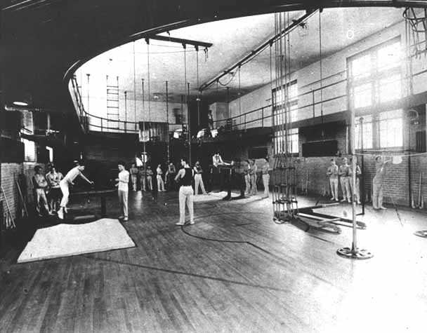 Black and white photograph of gym class at the State School, 1912.