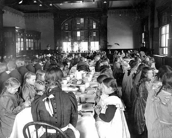 Black and white photograph of the State School dining room, c.1900.